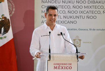 Suma Alejandro Murat esfuerzo y voluntad con el Gobierno de México para dignificar a los pueblos originarios de Oaxaca